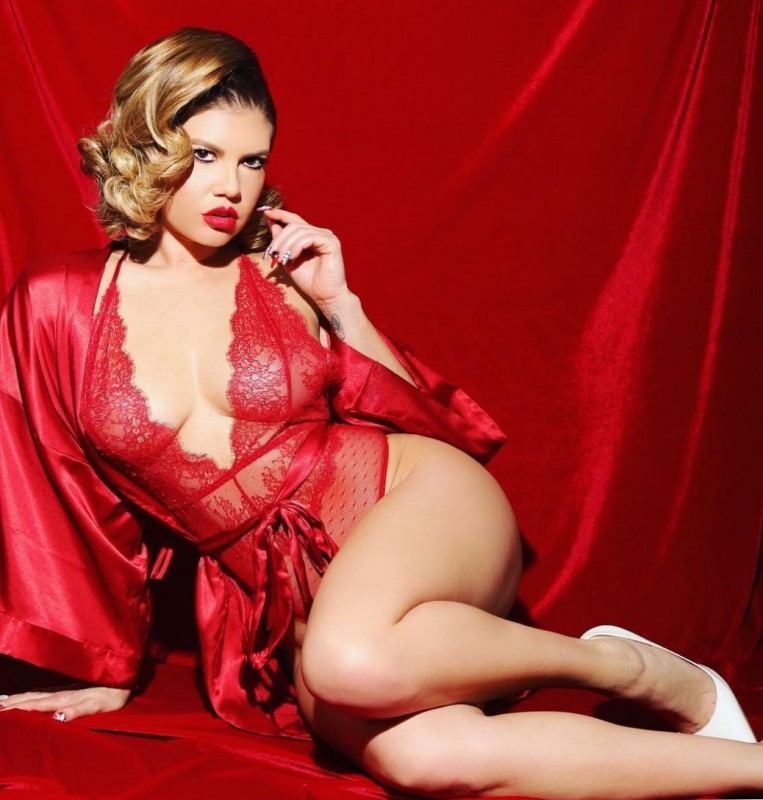 Hot Chanel West Coast in red lingerie