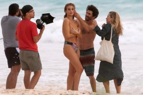 Rosie Huntington-Whiteley Topless at the beach