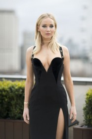 Jennifer Lawrence Braless in sexy dress