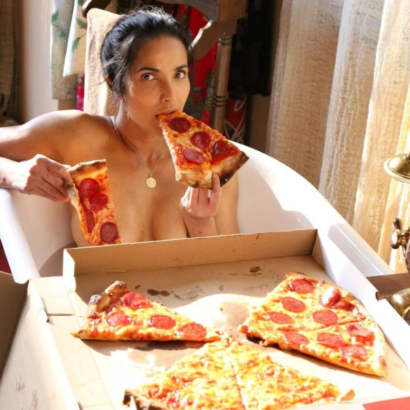 Padma Lakshmi Naked and Pizza